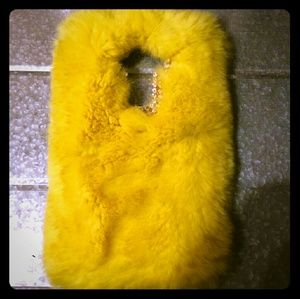 LG Stylo Ls770 Faux Yellow Rabbit Fur Phone Case